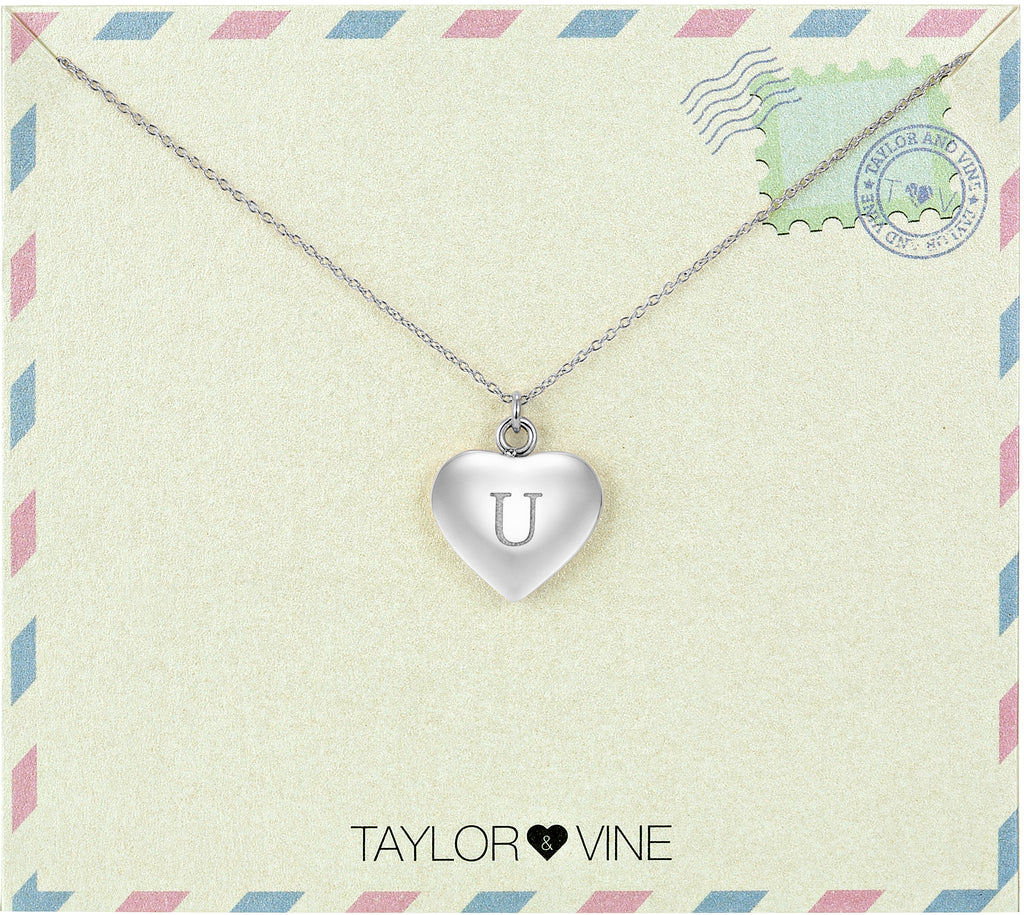 Taylor and Vine Love Letter U Heart Pendant Silver Necklace Engraved I Love You