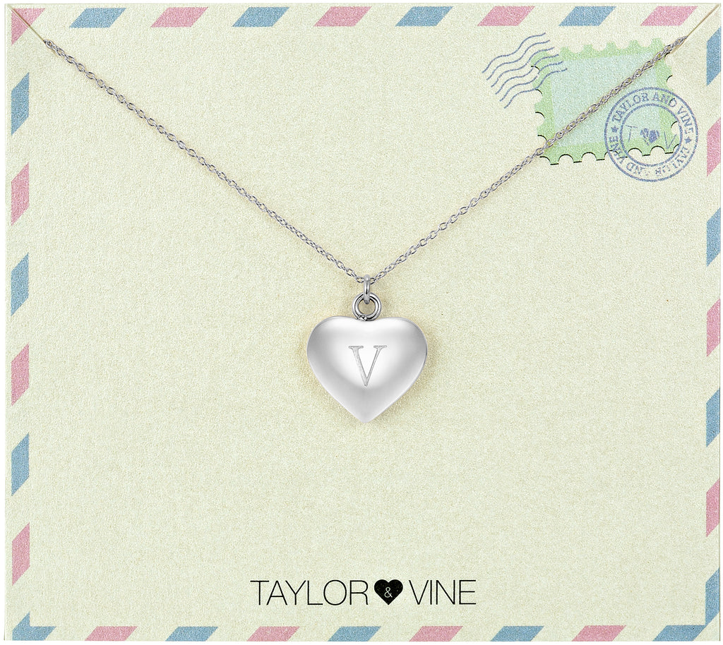 Taylor and Vine Love Letter V Heart Pendant Silver Necklace Engraved I Love You