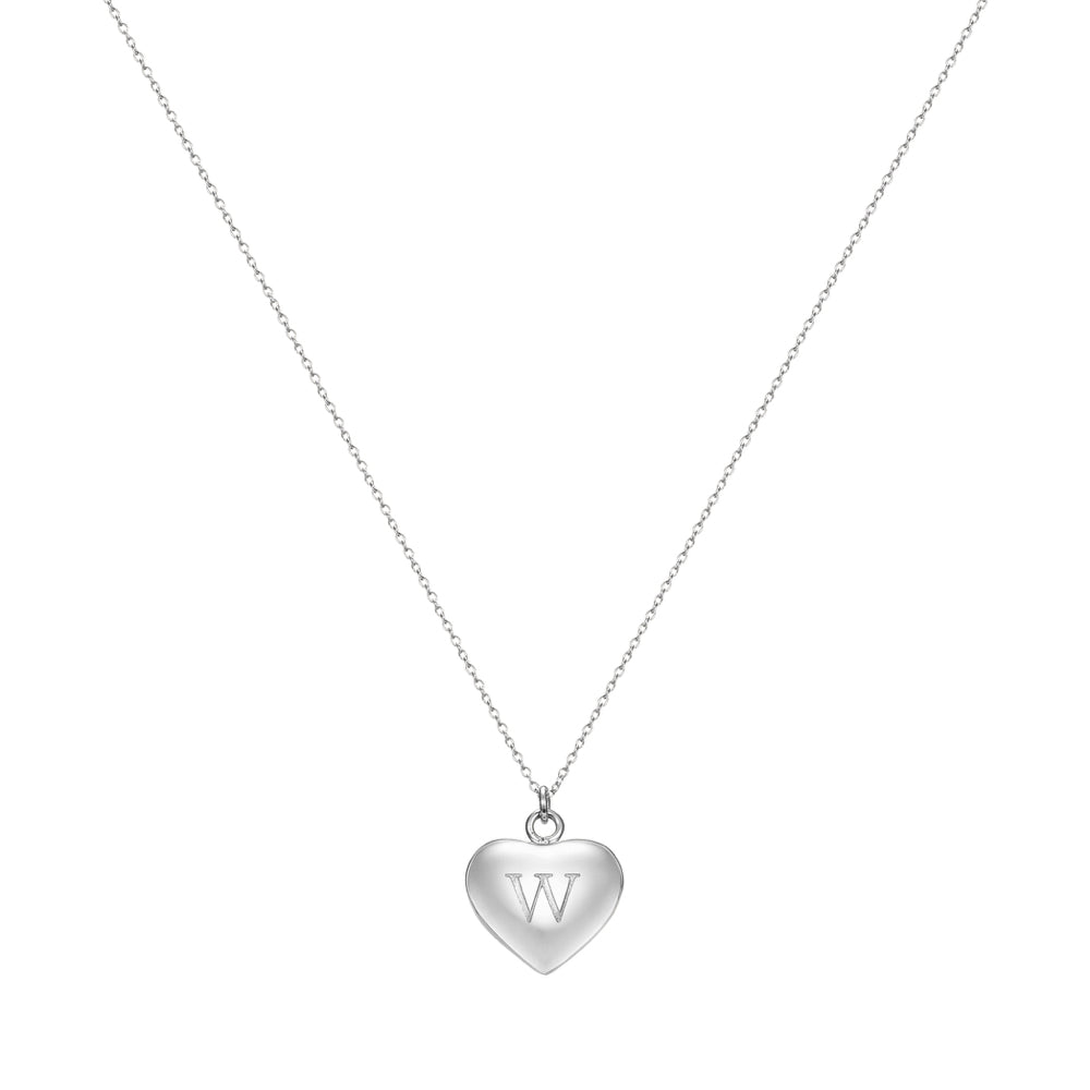 Taylor and Vine Love Letter W Heart Pendant Silver Necklace Engraved I Love You 1