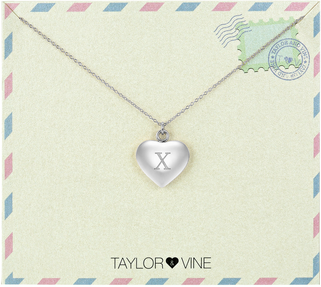Taylor and Vine Love Letter X Heart Pendant Silver Necklace Engraved I Love You