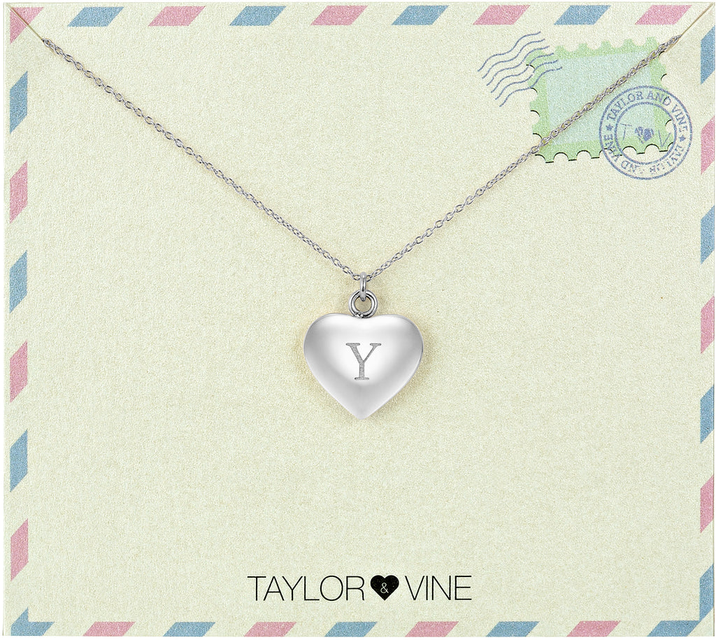 Taylor and Vine Love Letter Y Heart Pendant Silver Necklace Engraved I Love You