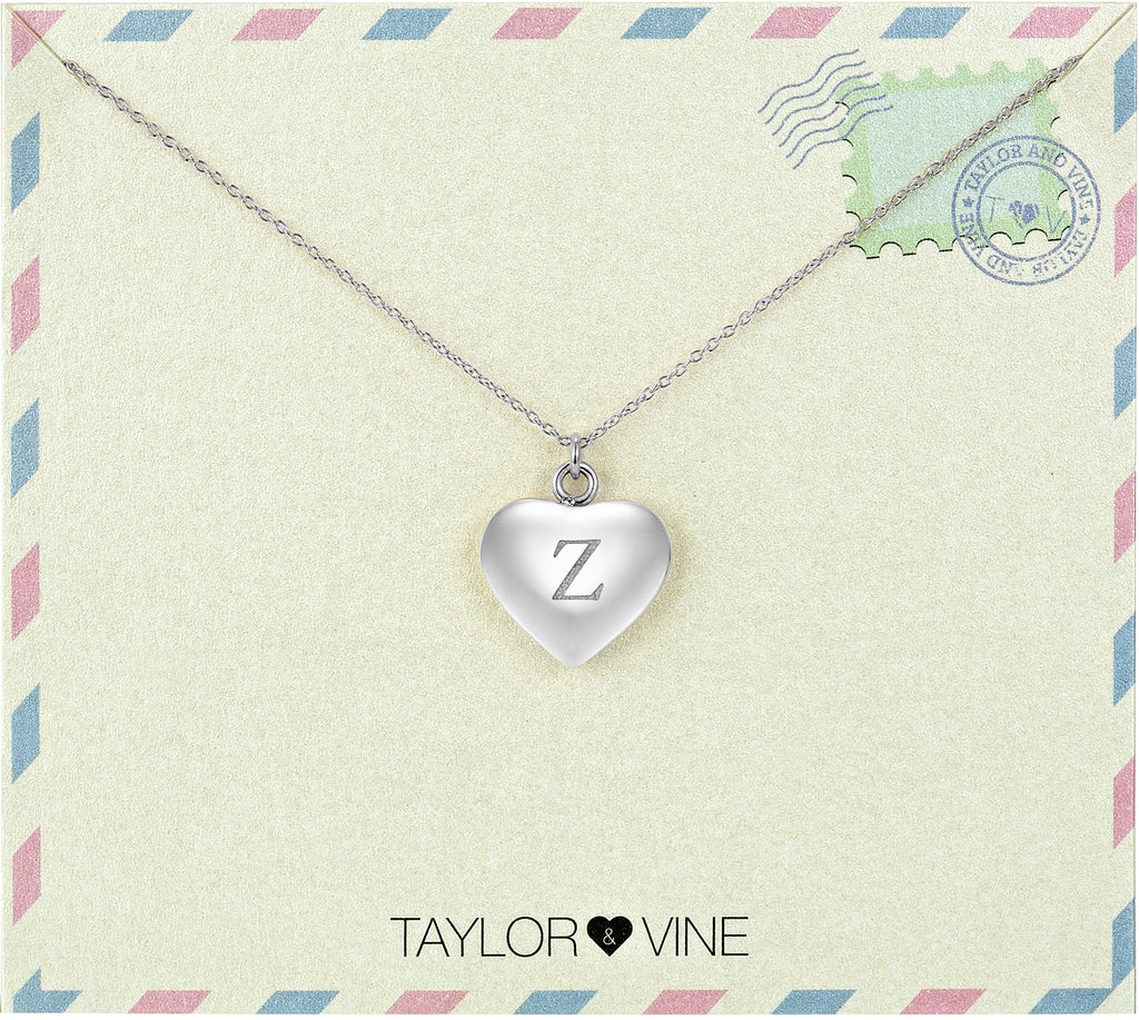 Taylor and Vine Love Letter Z Heart Pendant Silver Necklace Engraved I Love You