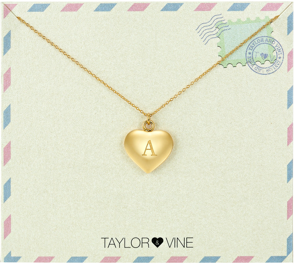 Taylor and Vine Love Letter A Heart Pendant Gold Necklace Engraved I Love You
