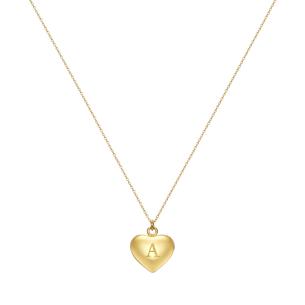 Taylor and Vine Love Letter A Heart Pendant Gold Necklace Engraved I Love You 1