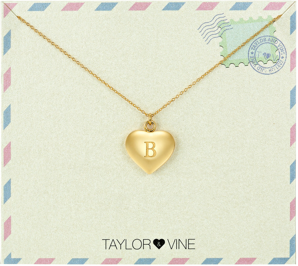 Taylor and Vine Love Letter B Heart Pendant Gold Necklace Engraved I Love You