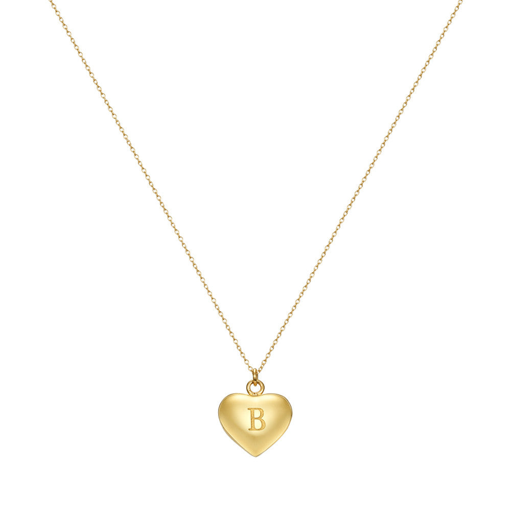 Taylor and Vine Love Letter B Heart Pendant Gold Necklace Engraved I Love You 1