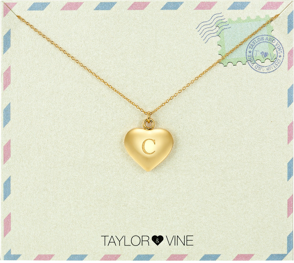 Taylor and Vine Love Letter C Heart Pendant Gold Necklace Engraved I Love You