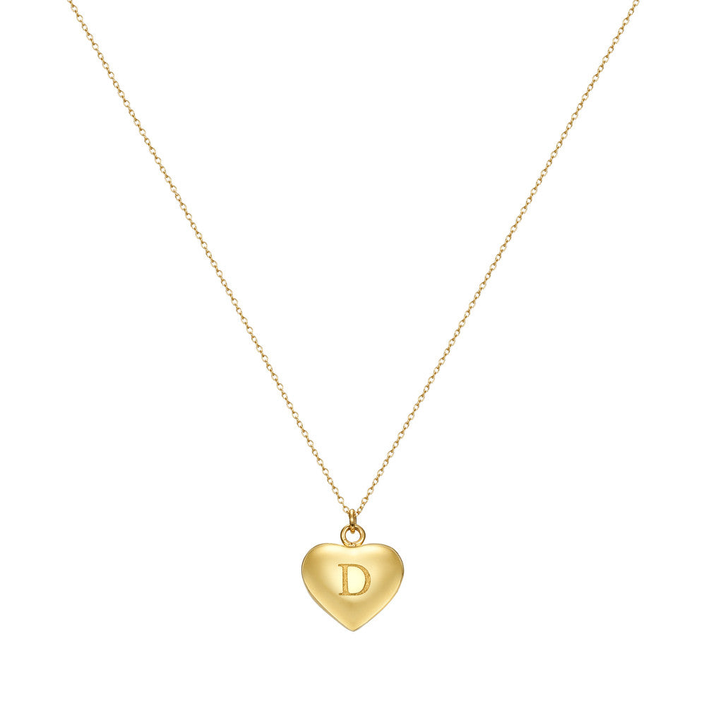Taylor and Vine Love Letter D Heart Pendant Gold Necklace Engraved I Love You 1