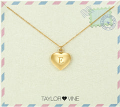 Taylor and Vine Love Letter E Heart Pendant Gold Necklace Engraved I Love You