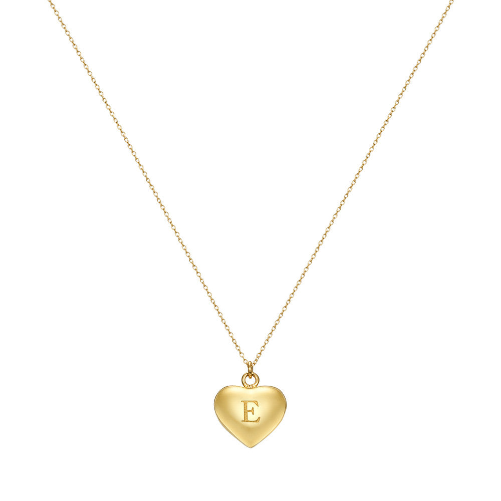 Taylor and Vine Love Letter E Heart Pendant Gold Necklace Engraved I Love You 1
