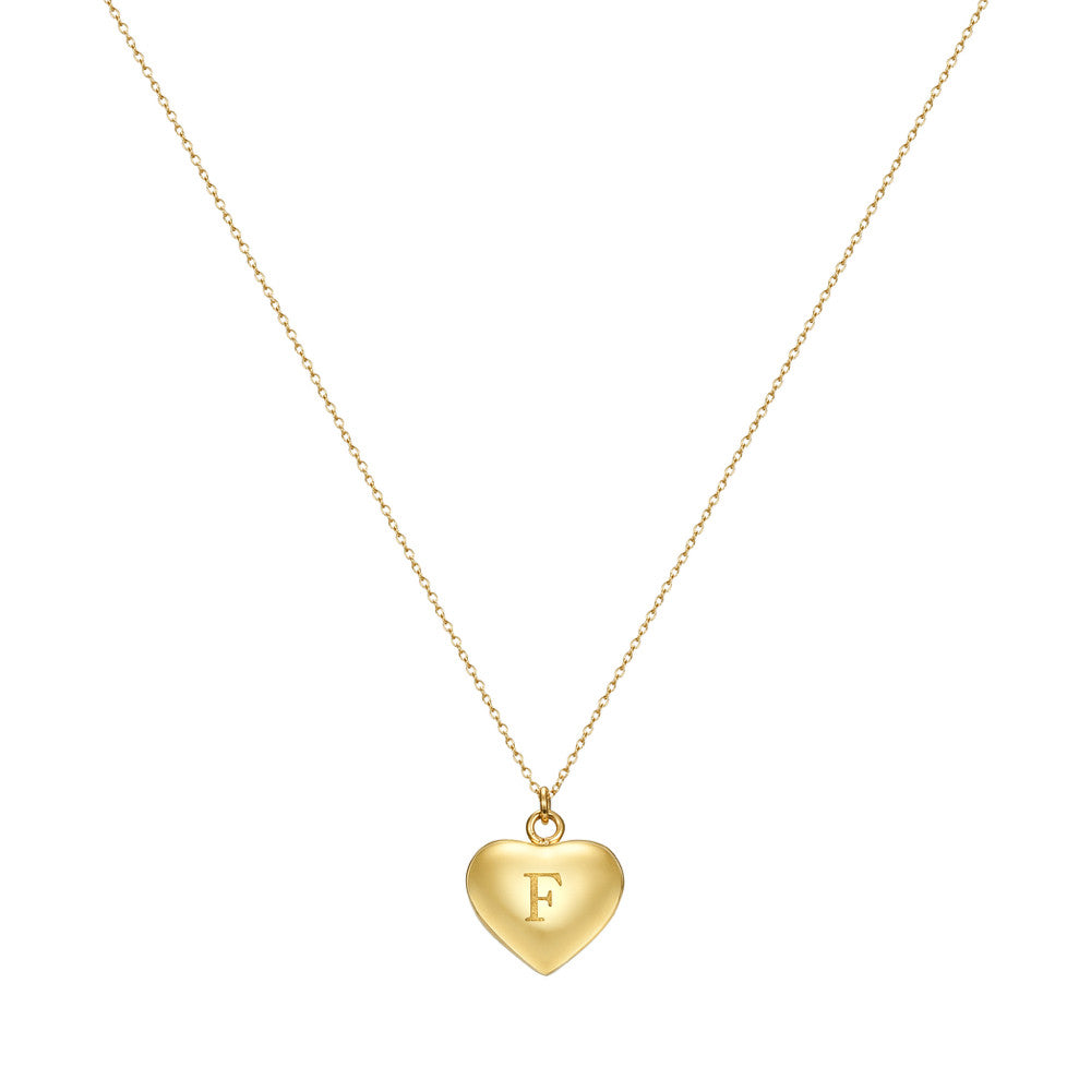 Taylor and Vine Love Letter F Heart Pendant Gold Necklace Engraved I Love You 1