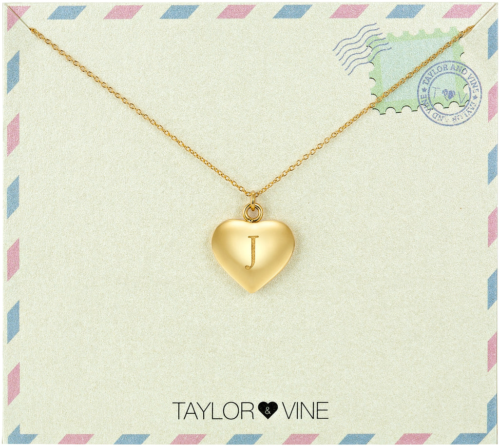 Taylor and Vine Love Letter J Heart Pendant Gold Necklace Engraved I Love You