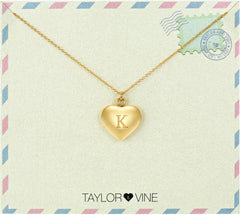 Taylor and Vine Love Letter K Heart Pendant Gold Necklace Engraved I Love You