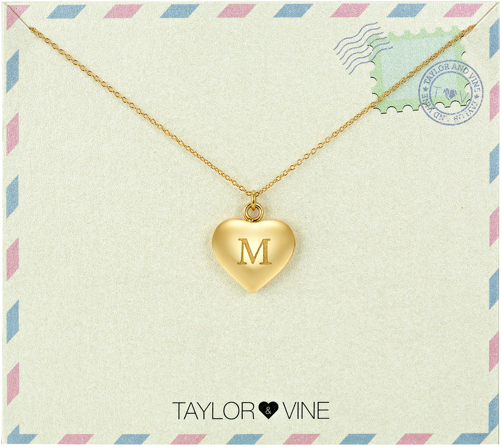 Taylor and Vine Love Letter M Heart Pendant Gold Necklace Engraved I Love You