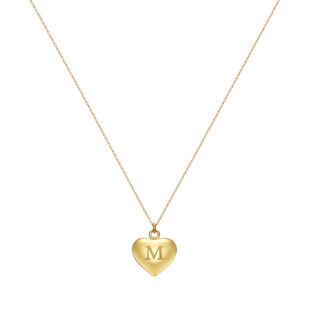 Taylor and Vine Love Letter M Heart Pendant Gold Necklace Engraved I Love You 1