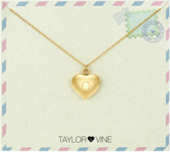Taylor and Vine Love Letter O Heart Pendant Gold Necklace Engraved I Love You