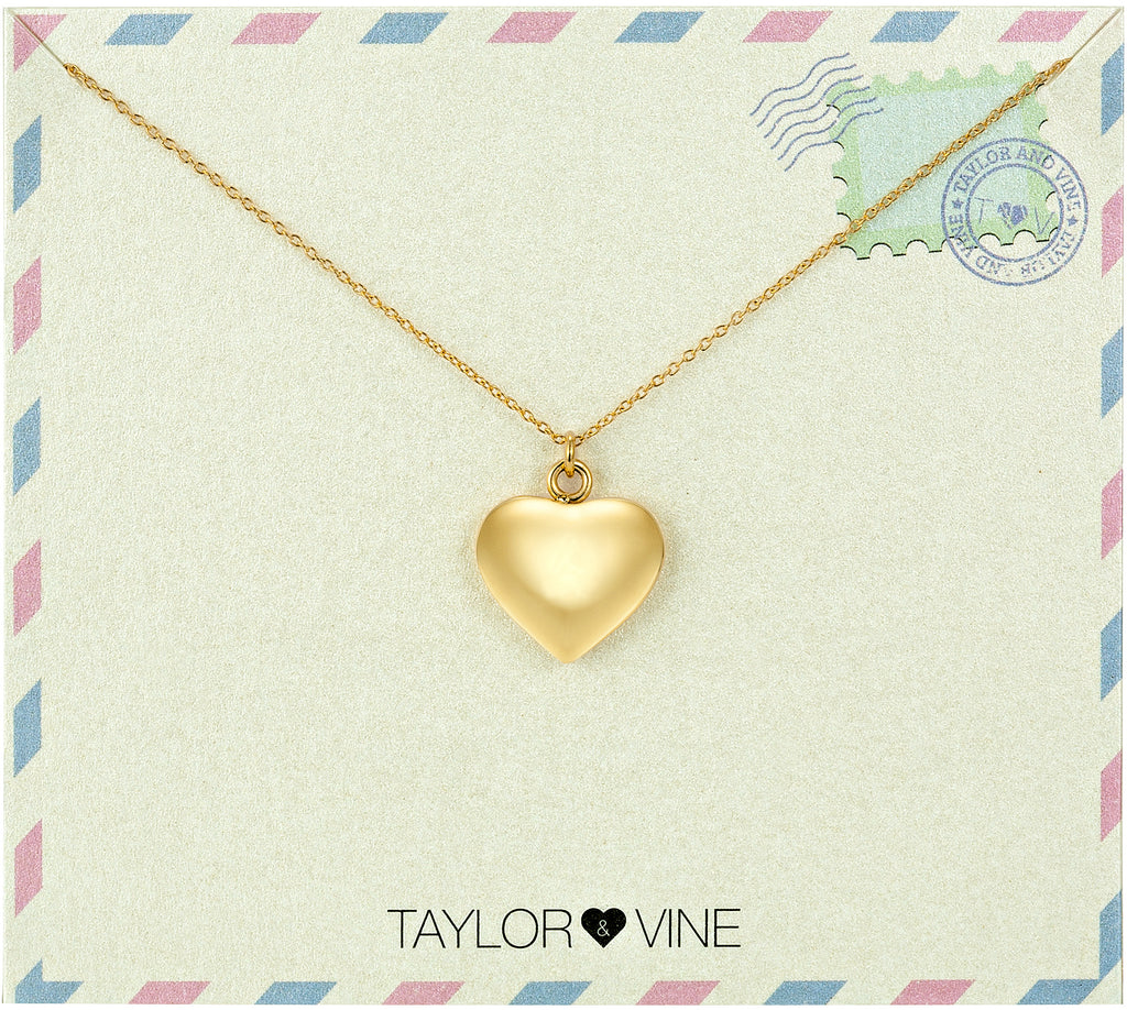 Taylor and Vine Love Heart Pendant Gold Necklace Engraved I Love You