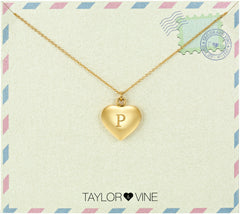 Taylor and Vine Love Letter P Heart Pendant Gold Necklace Engraved I Love You