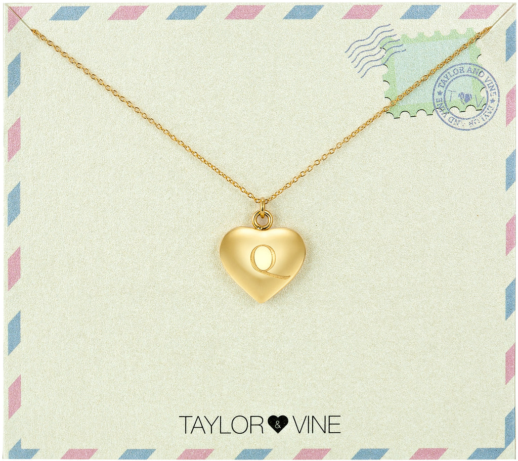 Taylor and Vine Love Letter Q Heart Pendant Gold Necklace Engraved I Love You