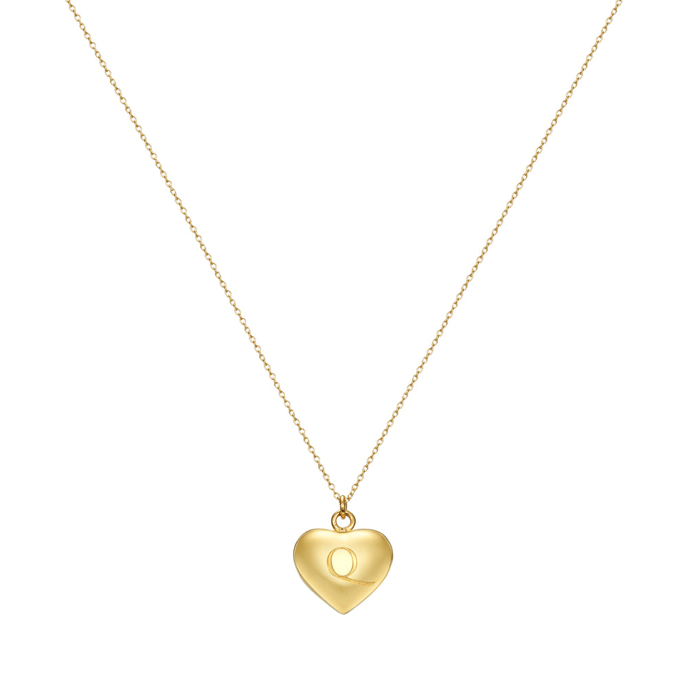 Taylor and Vine Love Letter Q Heart Pendant Gold Necklace Engraved I Love You  1