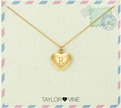 Taylor and Vine Love Letter R Heart Pendant Gold Necklace Engraved I Love You