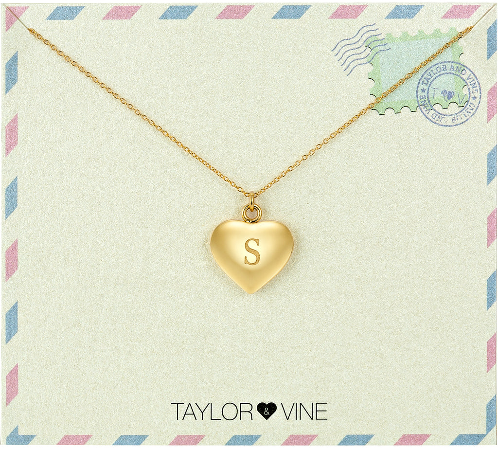 Taylor and Vine Love Letter S Heart Pendant Gold Necklace Engraved I Love You