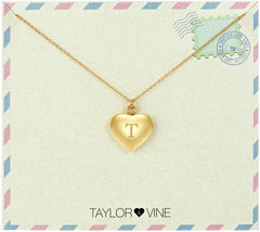 Taylor and Vine Love Letter T Heart Pendant Gold Necklace Engraved I Love You