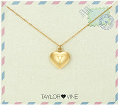 Taylor and Vine Love Letter V Heart Pendant Gold Necklace Engraved I Love You