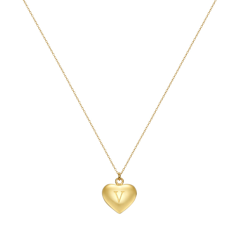 Taylor and Vine Love Letter V Heart Pendant Gold Necklace Engraved I Love You 1