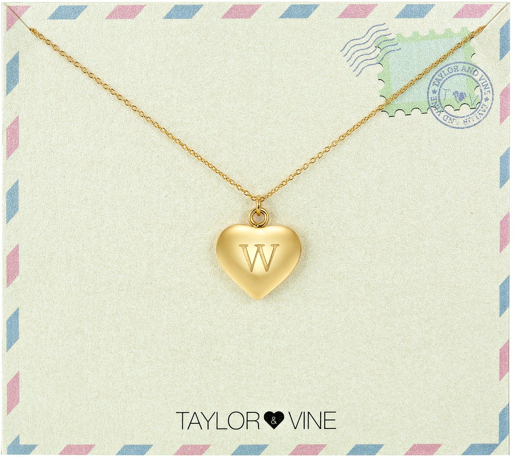 Taylor and Vine Love Letter W Heart Pendant Gold Necklace Engraved I Love You