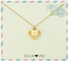 Taylor and Vine Love Letter X Heart Pendant Gold Necklace Engraved I Love You
