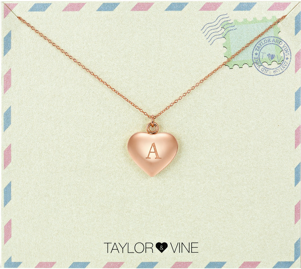 Taylor and Vine Love Letter A Heart Pendant Rose Gold Necklace Engraved I Love You
