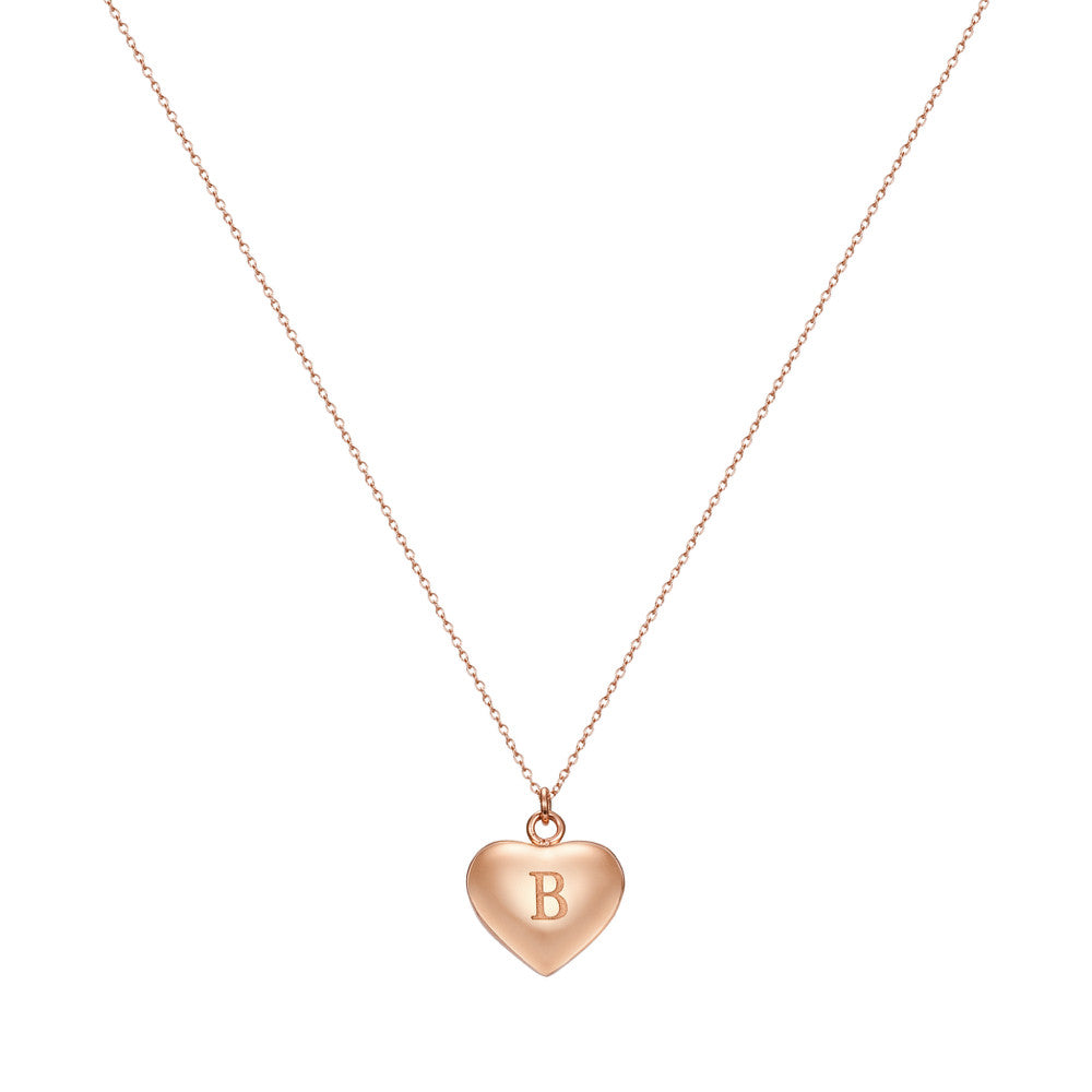 Taylor and Vine Love Letter B Heart Pendant Rose Gold Necklace Engraved I Love You 1