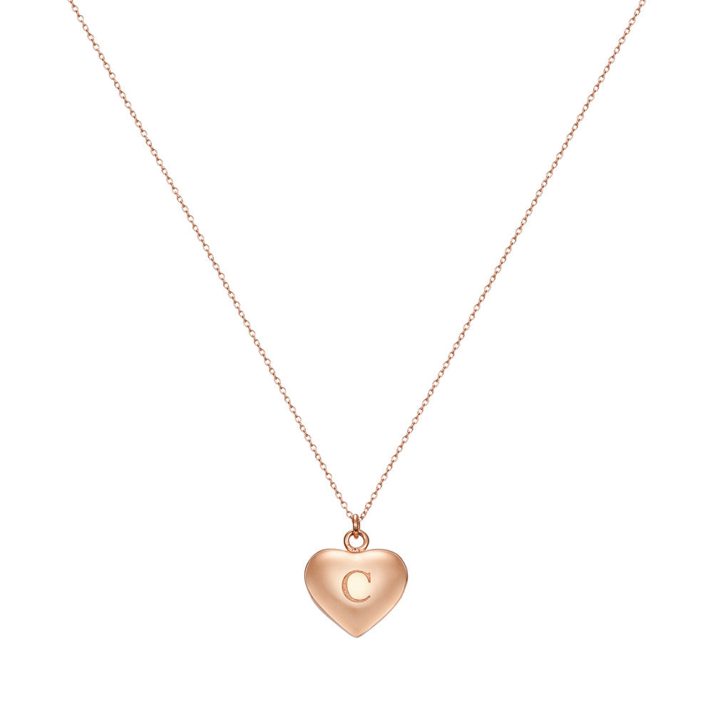 Taylor and Vine Love Letter C Heart Pendant Rose Gold Necklace Engraved I Love You 1