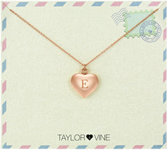 Taylor and Vine Love Letter E Heart Pendant Rose Gold Necklace Engraved I Love You