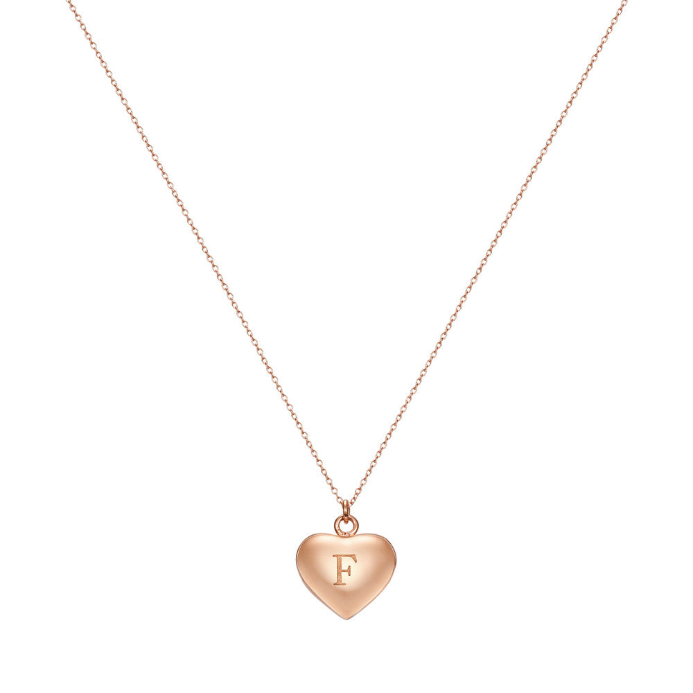 Taylor and Vine Love Letter F Heart Pendant Rose Gold Necklace Engraved I Love You 1
