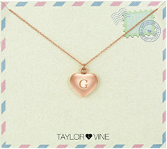 Taylor and Vine Love Letter G Heart Pendant Rose Gold Necklace Engraved I Love You