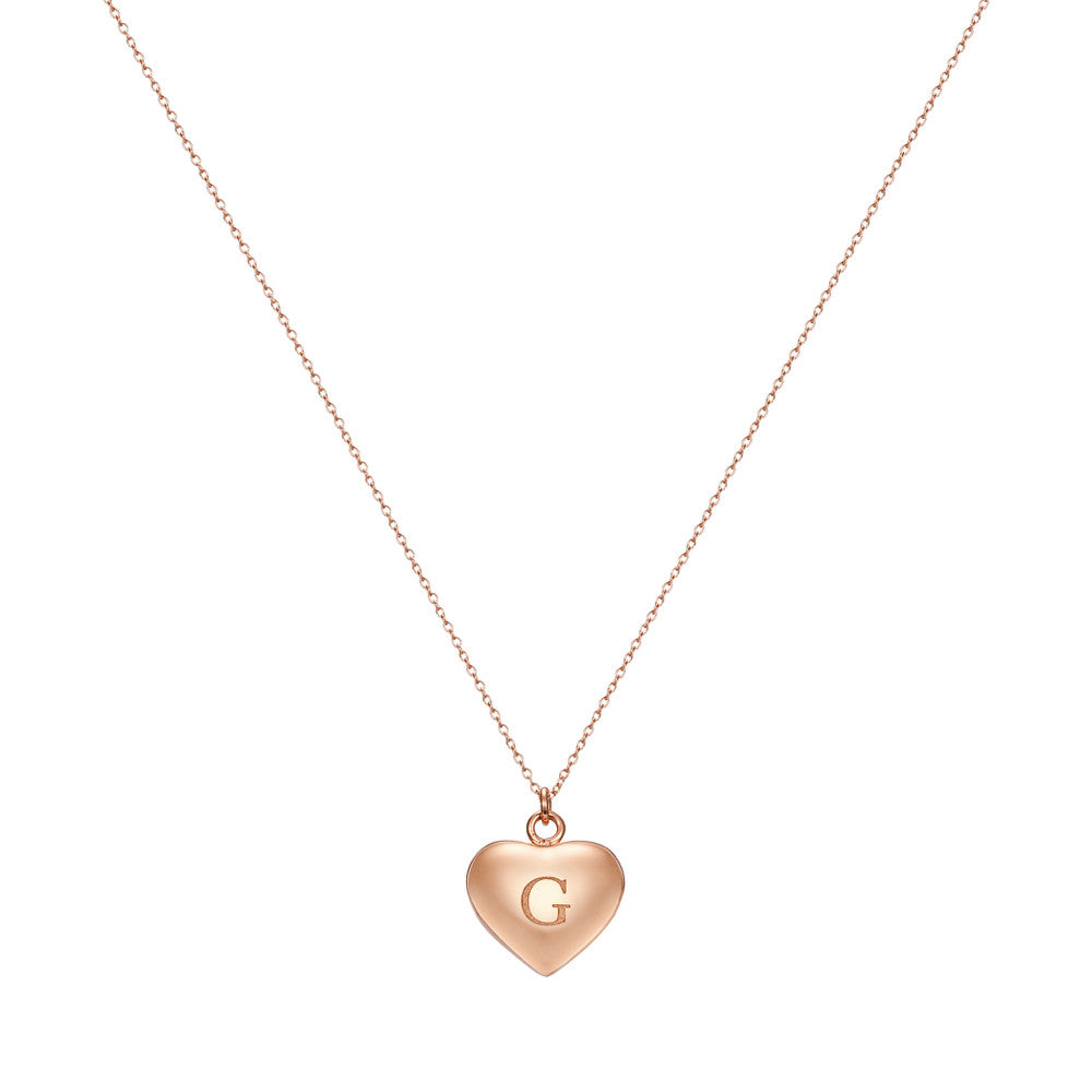 Taylor and Vine Love Letter G Heart Pendant Rose Gold Necklace Engraved I Love You 1
