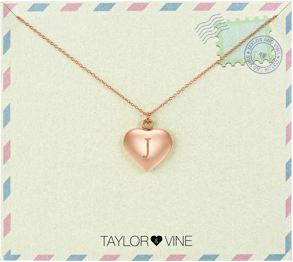 Taylor and Vine Love Letter J Heart Pendant Rose Gold Necklace Engraved I Love You