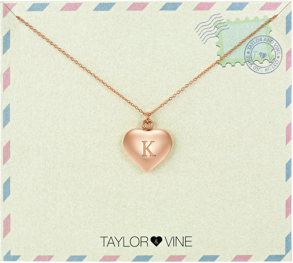 Taylor and Vine Love Letter K Heart Pendant Rose Gold Necklace Engraved I Love You