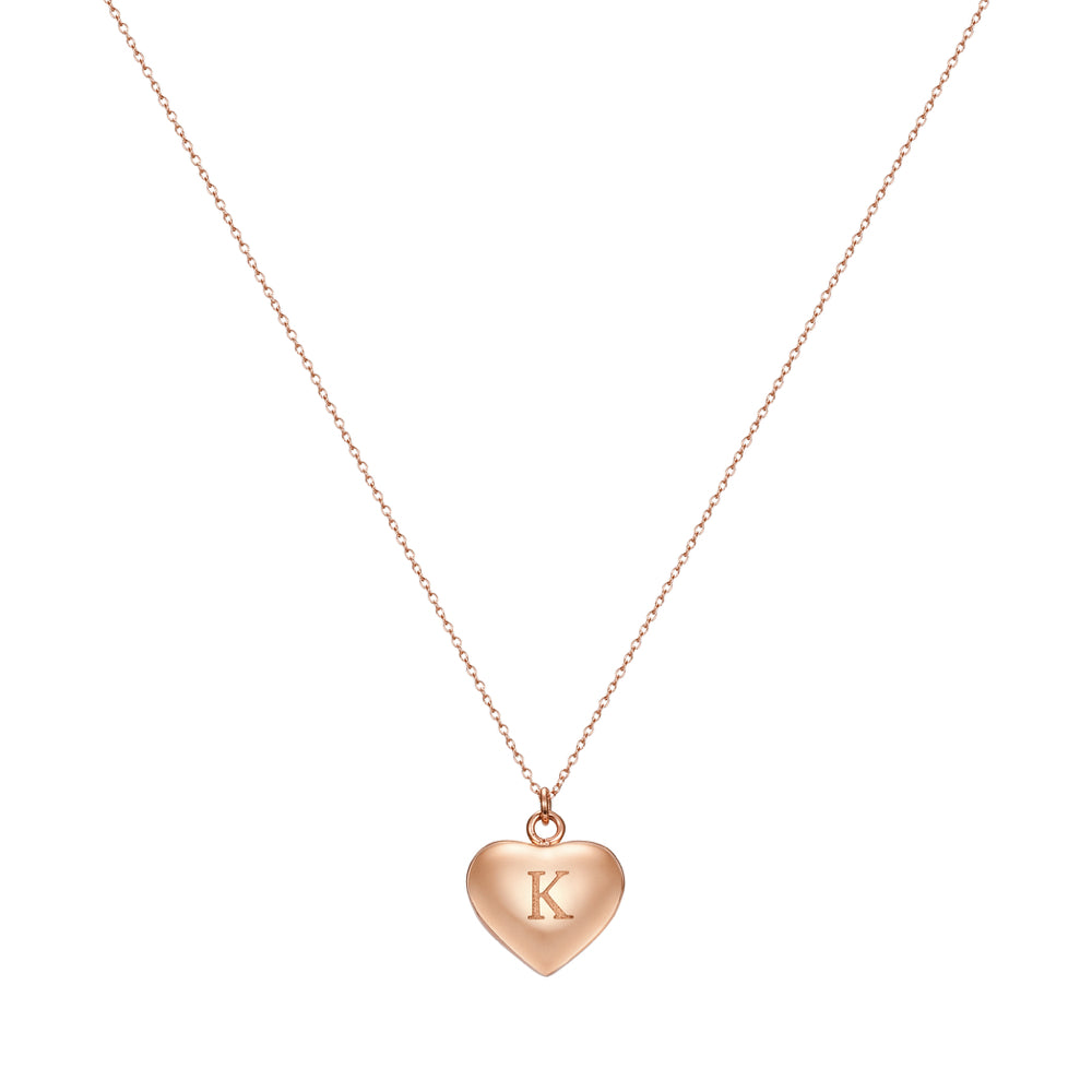 Taylor and Vine Love Letter K Heart Pendant Rose Gold Necklace Engraved I Love You 1