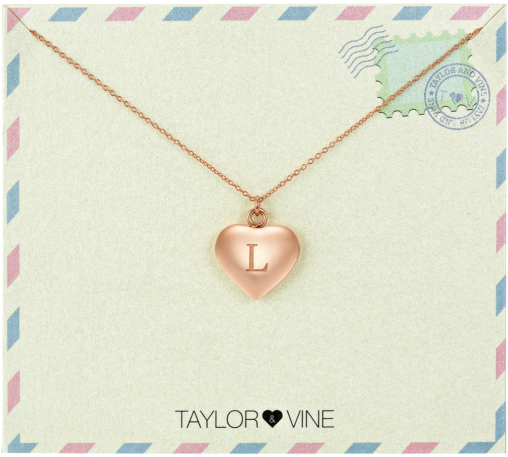 Taylor and Vine Love Letter L Heart Pendant Rose Gold Necklace Engraved I Love You