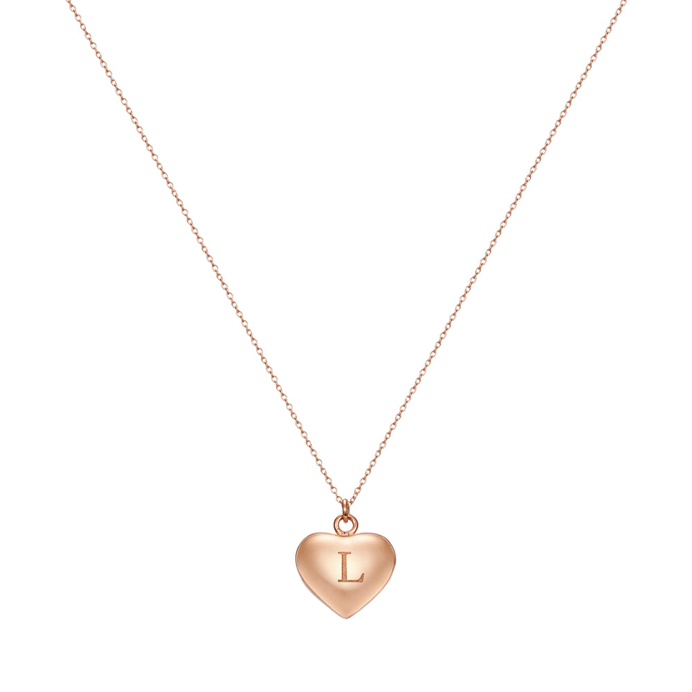 Taylor and Vine Love Letter L Heart Pendant Rose Gold Necklace Engraved I Love You 1