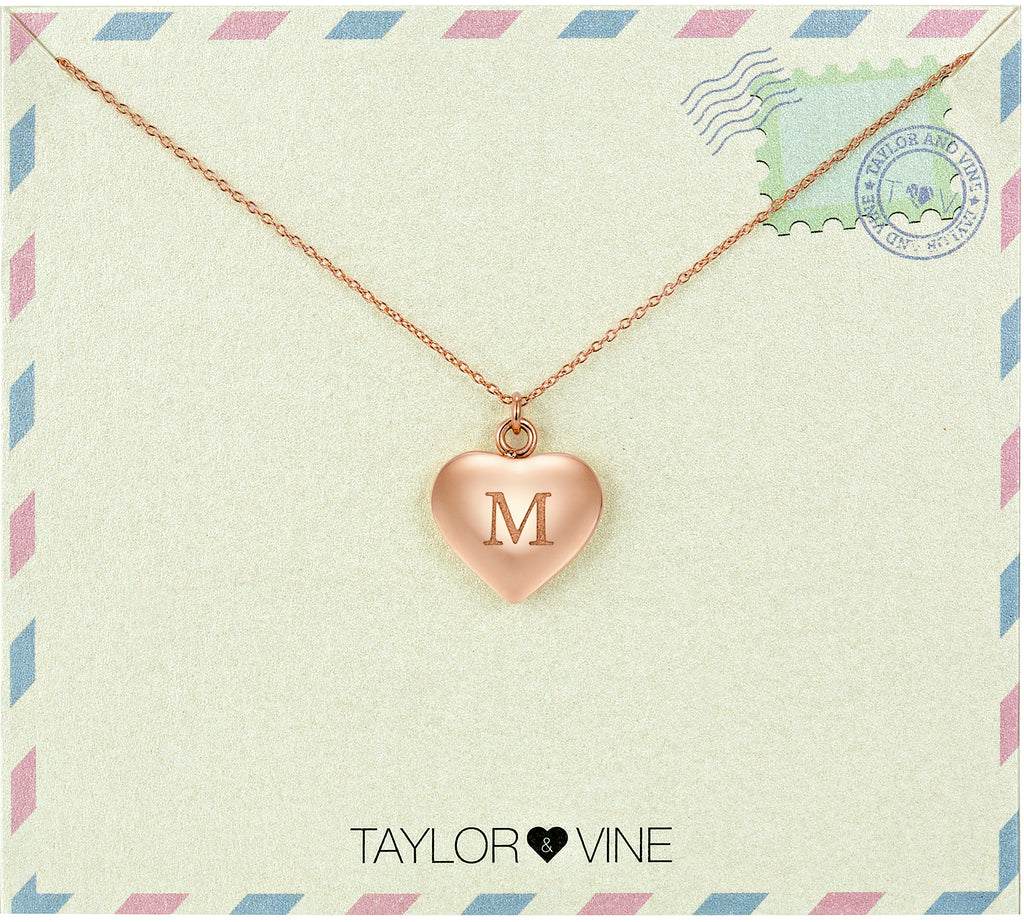 Taylor and Vine Love Letter M Heart Pendant Rose Gold Necklace Engraved I Love You