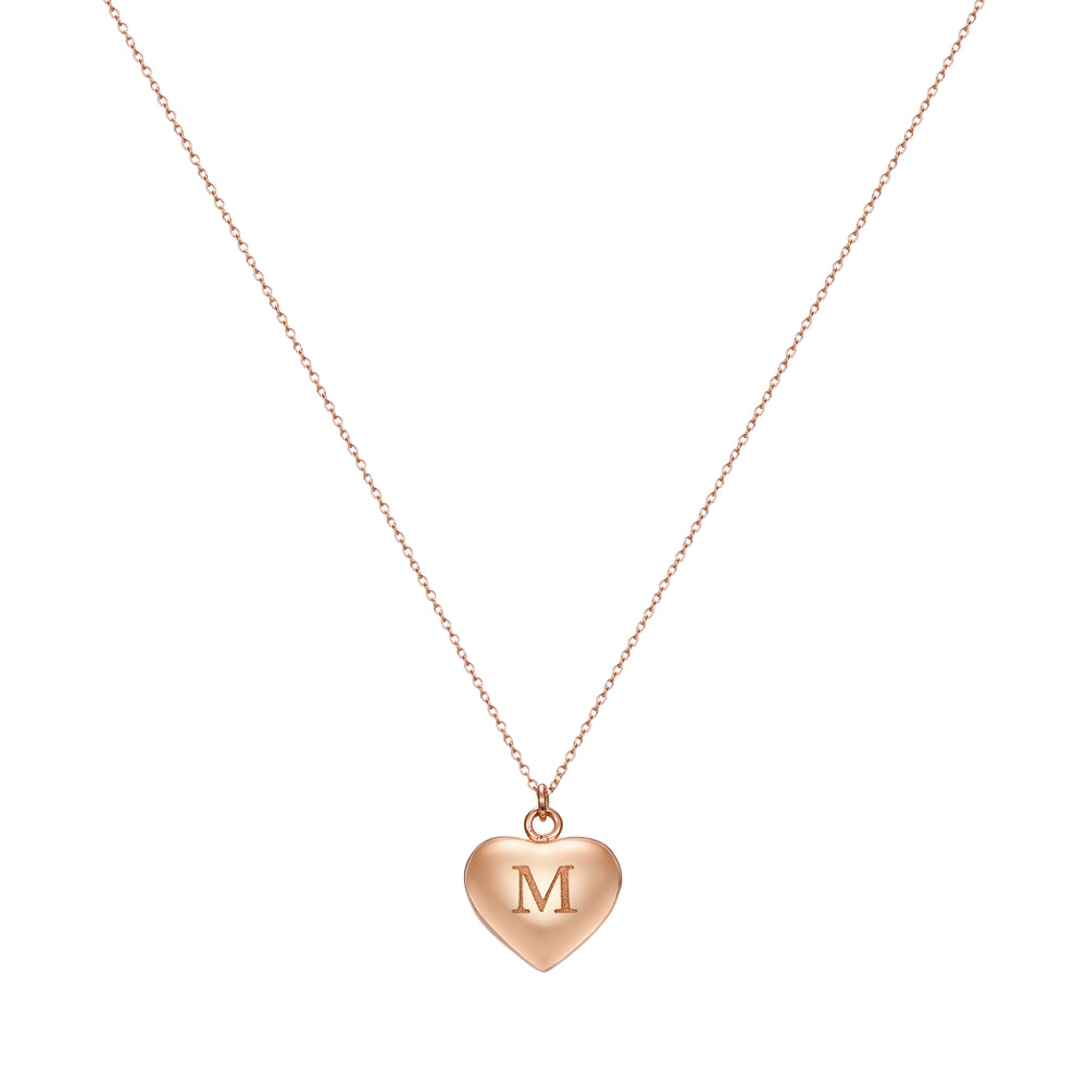 Taylor and Vine Love Letter M Heart Pendant Rose Gold Necklace Engraved I Love You 1