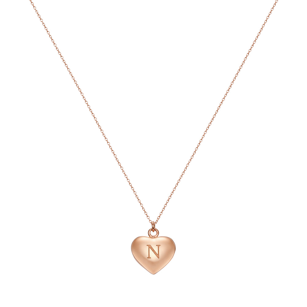 Taylor and Vine Love Letter N Heart Pendant Rose Gold Necklace Engraved I Love You 1