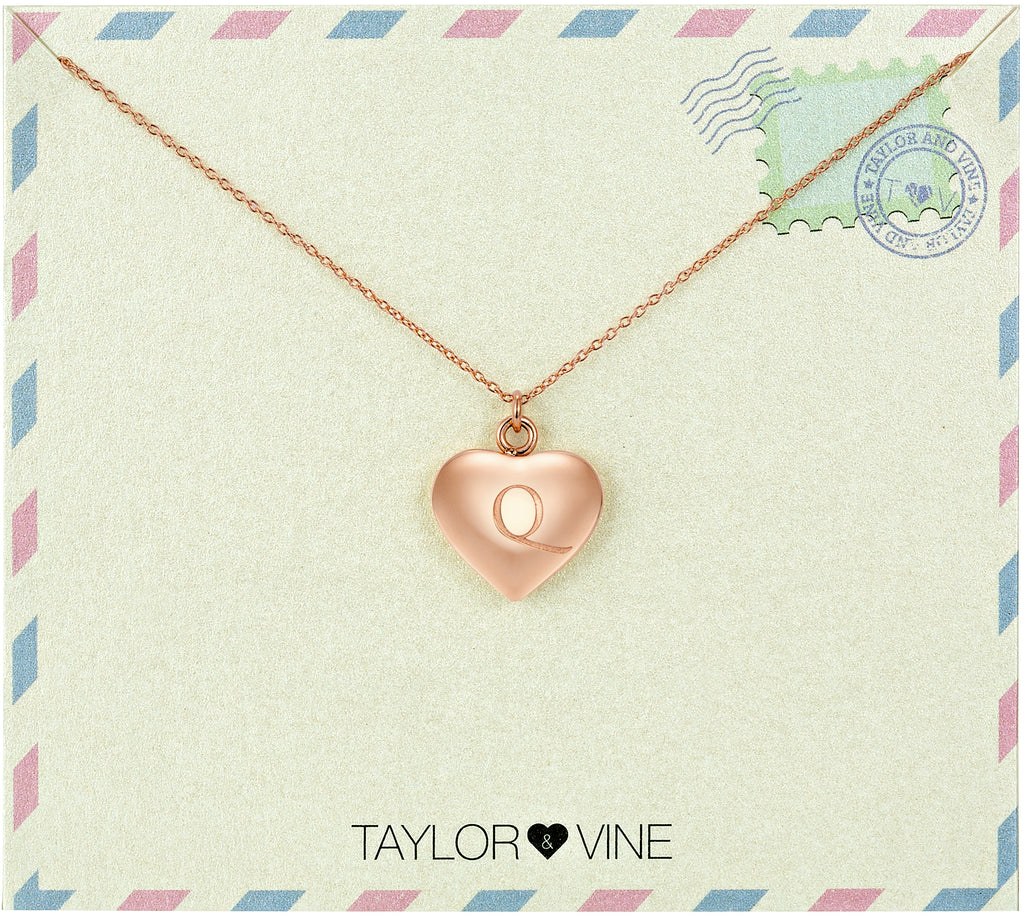 Taylor and Vine Love Letter Q Heart Pendant Rose Gold Necklace Engraved I Love You