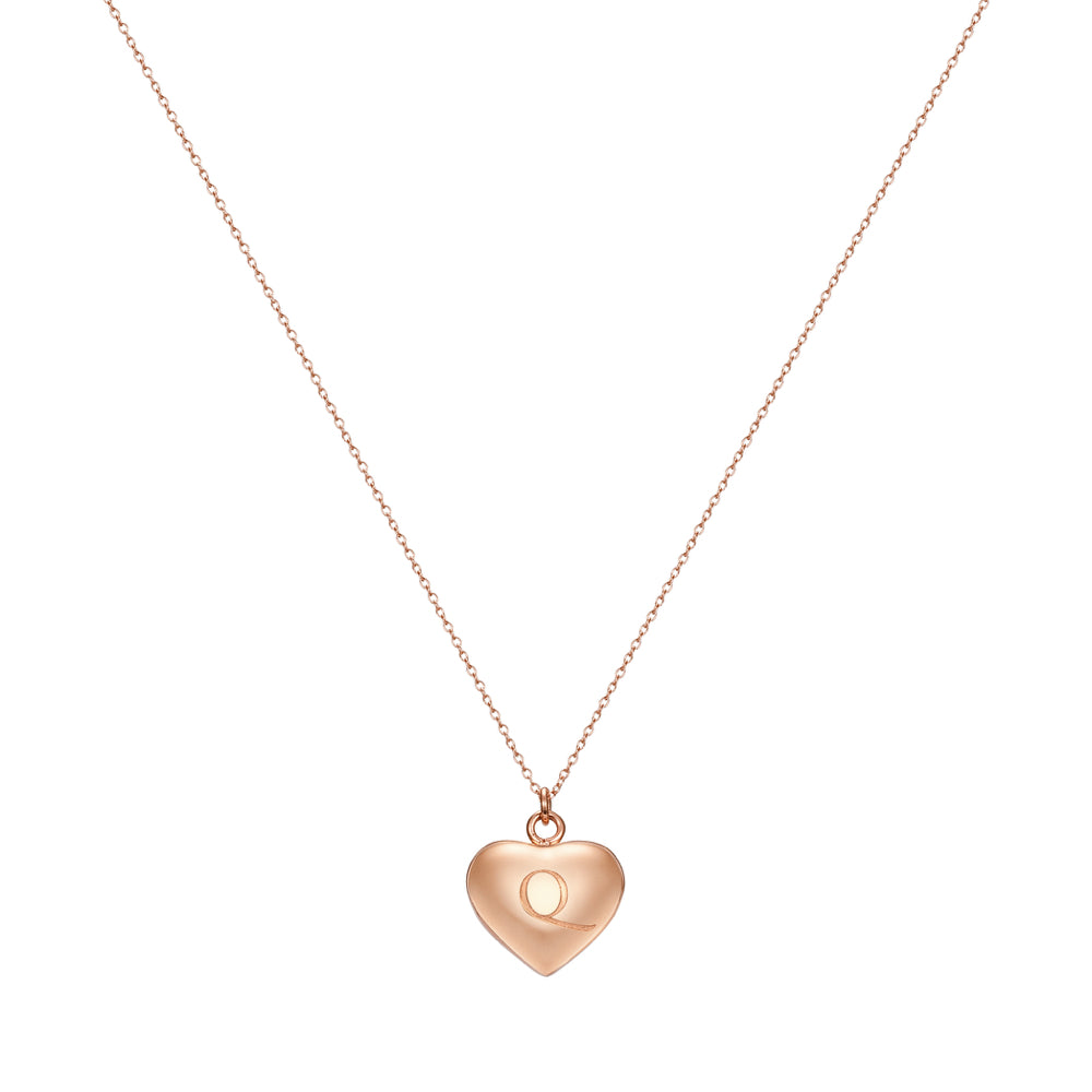Taylor and Vine Love Letter Q Heart Pendant Rose Gold Necklace Engraved I Love You 2
