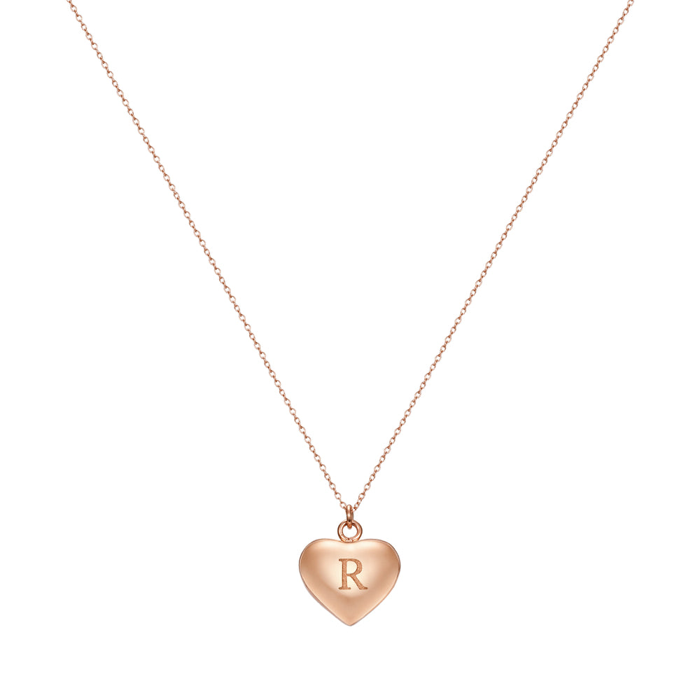 Taylor and Vine Love Letter R Heart Pendant Rose Gold Necklace Engraved I Love You