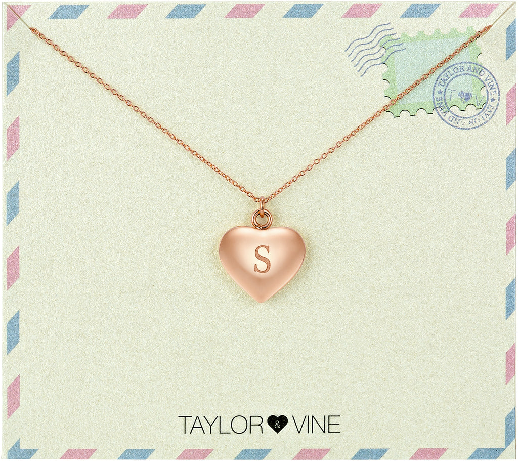 Taylor and Vine Love Letter S Heart Pendant Rose Gold Necklace Engraved I Love You